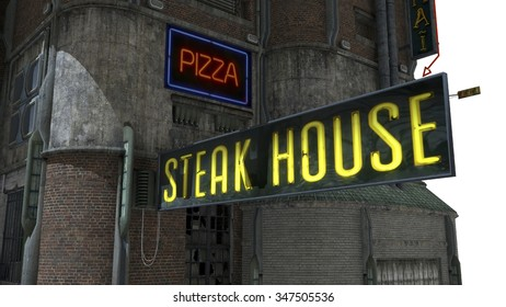 """The futuristic building with a sign """"Steak House"""""""