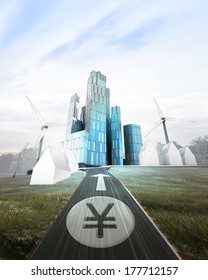 futuristic business city with painted Yen coin on road illustration