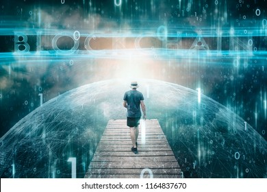 Futuristic business man and dark cyberspace background with computer binary numbers background.