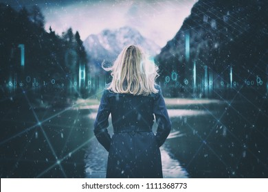 Futuristic business woman and artistic digital cyber space background with computer binary numbers data illustration.