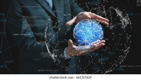 Futuristic businessman in suit holding a blue microchip ball, world internet connection, speed, contact, communication, on a black background. Concept: future technologies, future intellect, fast.