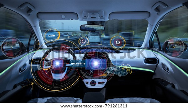 Futuristic car cockpit. Autonomous car. Driverless vehicle. HUD(Head up display). GUI(Graphical User Interface). IoT(Internet of Things).