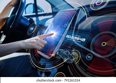 Futuristic car cockpit and touch screen. Autonomous car. Driverless vehicle. HUD(Head up display). GUI(Graphical User Interface). IoT(Internet of Things).