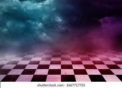 Futuristic Checker floor Grunge Room. Checker floor lead into dark empty space
