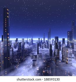 Futuristic city with fog