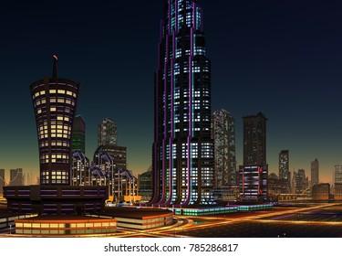 Futuristic City at Night - 3d illustration
