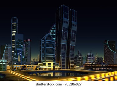 Futuristic City at Night - 3d illustration