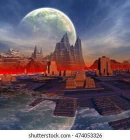 Futuristic City on an Alien Planet - 3D Rendered Computer Artwork