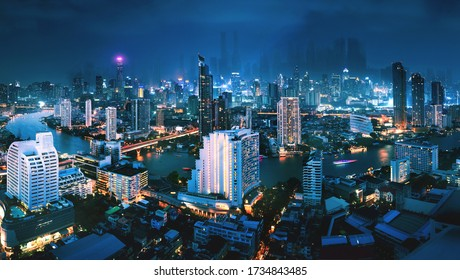 Futuristic city technology concept, Fantasy cityscape of bangkok city in future at night in Thailand, Cyberpunk style