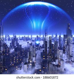 Futuristic city under glass dome