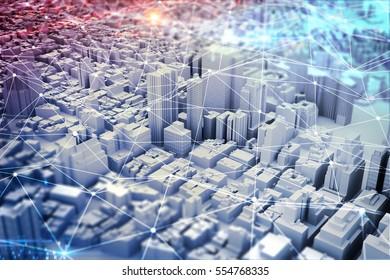 Futuristic city vision. mixed media