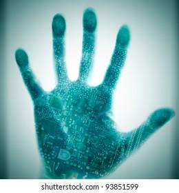 Futuristic concept integrates electronics and bio-technologies.