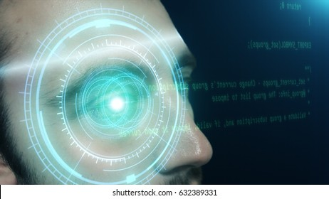 Futuristic concept. A young man reads the program code