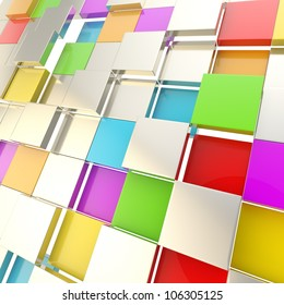 Futuristic copyspace background made of colorful chaotic cubic plates