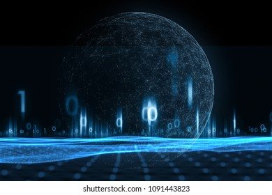 Futuristic cyberspace network globe with binary numbers illustration background.