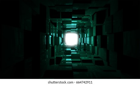 Futuristic dark tunnel. 3D render