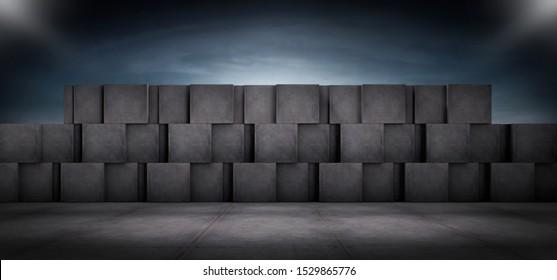 Futuristic Dark Wall Background Concrete Blocks with Empty Floor Spotlight and Night Sky