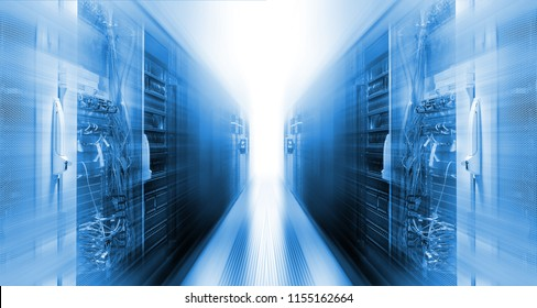 futuristic data center with rows supercomputers motion blur