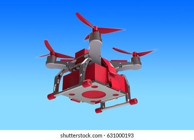 Futuristic Delivery Drone Dron Red 3d Illustration