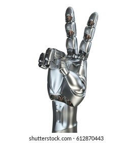 Futuristic design concept of a robotic mechanical arm. 3d render. matte chrome. Template Isolated on white background.