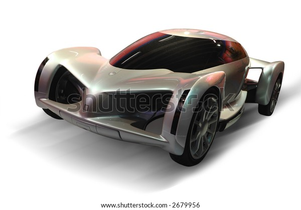 A futuristic design of a sports car (isolated in white background)