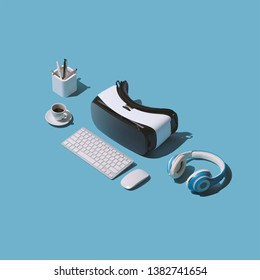 Futuristic desktop with VR headset, keyboard and headphones: virtual reality experience concept
