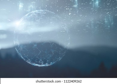 Futuristic digital business network connections on blurred landscape background. Selective focus used.