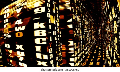 Futuristic digital data technology screens with letters and numbers.