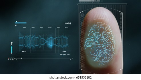 futuristic digital processing of biometric fingerprint scanner. concept of surveillance and security scanning of digital programs and fingerprint biometrics. cyber futuristic applications future voice