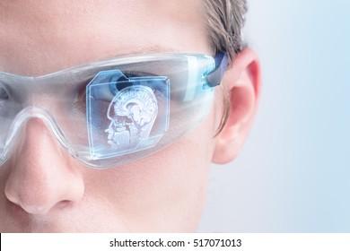 Futuristic doctor analyzing brain scan