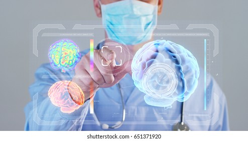 A futuristic doctor, a surgeon, looks into a technological digital holographic monitor, a brain hologram, a medical mask, a blue robe. Concept futuristic medicine, doctors, laboratory, future, science