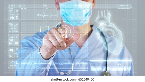 A futuristic doctor, a surgeon, looks at a technological digital holographic monitor, a hologram heartbeat, a medical mask, a blue robe Concept futuristic medicine, doctors, laboratory future science
