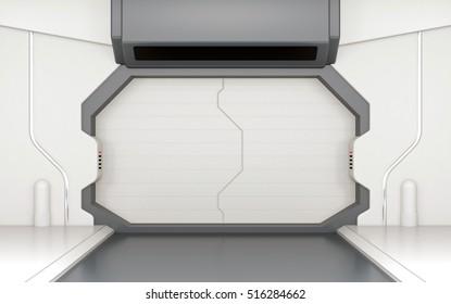 Futuristic door, gate or entrance in spaceship interior 3D rendering