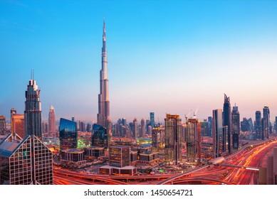 Futuristic Dubai city center skyline at  sunset, Dubai, United Arab Emirates