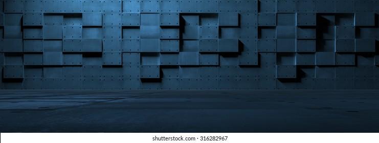 Futuristic Empty Metal Room