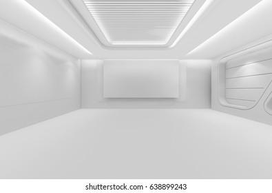 Futuristic empty room, 3d render interior design, white mock up illustration
