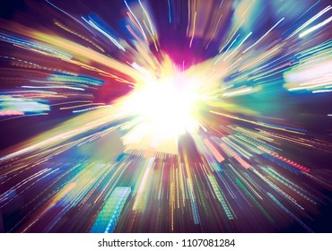 Futuristic explosion in cyberspace or in a time tunnel with motion effect of a beam of neon lights. Vivid glow for fantasy background of the hyperspace, virtual technologies or a supernova blast.