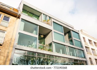 futuristic facade of apartment house in germany