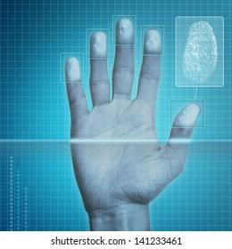 Futuristic fingerprint scanning device - biometric security system.