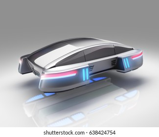 futuristic flying car on white background. 3d illustration