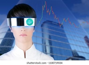 futuristic glasses woman Bitcoin BTC trader city downtown mirror skyscraper buildings