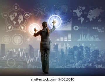 futuristic graphical interface and system engineer, financial technology, abstract image visual