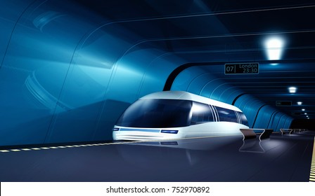 Futuristic high-speed train at the station. 3d rendering image