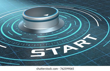 futuristic hud with a knob and text: start (3d render)