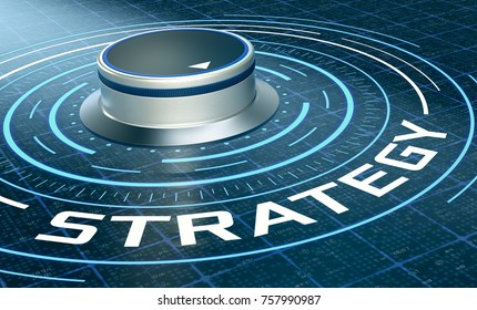 futuristic hud with a knob and text: strategy (3d render)