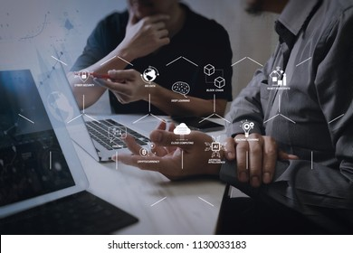 Futuristic in Industry 4.0 and business virtual diagram with Ai, robot assistant, Cloud, big data and automation. Business team meeting. Photo professional investor working new start up project.