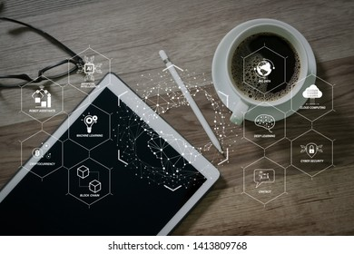 Futuristic in Industry 4.0 and business virtual diagram with Ai, robot assistant, Cloud, big data and automation. Coffee cup and Digital table dock smart keyboard,eyeglasses,stylus pen.