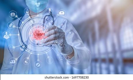 Futuristische innovative Corona covid-19 Virus Arzt tragen Maske virtuelle digitale ai Infografik Daten-Technologie. Koronavirus 2019-nCov-Analyse im Krankenhauslabor gegen Epidemic-Virus