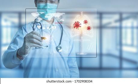 Futuristic innovative corona covid-19 virus doctor wear mask virtual digital ai infographic data tech. Coronavirus 2019-nCov treatment analysis screen in hospital laboratory against epidemic virus - Shutterstock ID 1702908334