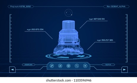 futuristic interface of a cad software (3d render)